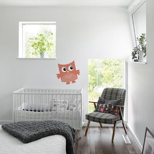 Sticker autocollant Hibou Pêche pour enfant collé au mur d'une chambre pour bébé