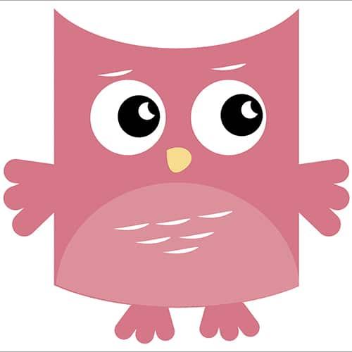 Sticker autocollant Hibou Rose pour enfants