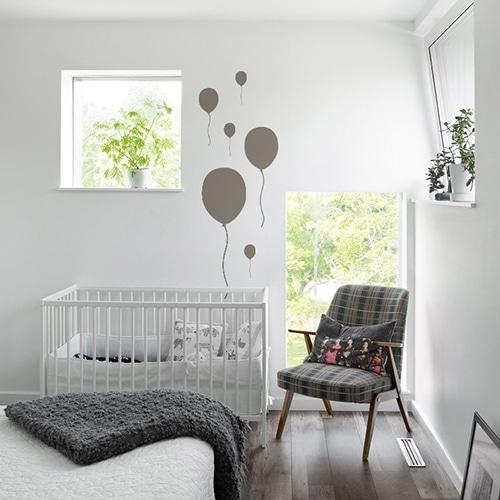Stickers muraux ballon taupe frise pour enfants