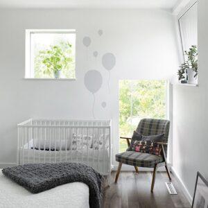 Stickers frise pour la chambre de bébé ballon gris
