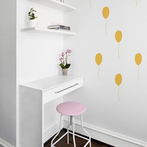 Stickers ballon jaune pour bureau ou chambre adhésif