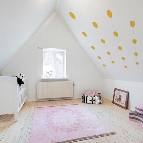 Stickers adhésif ballons jaunes frise pour chambre bébé