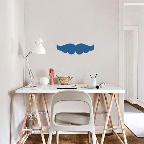 Stickers muraux moustache bleue déco pour bureau