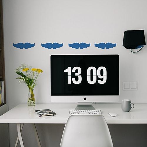 Stickers muraux moustache bleue frise pour bureau !
