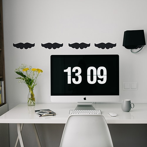 Stickers muraux moustache noire frise pour bureau