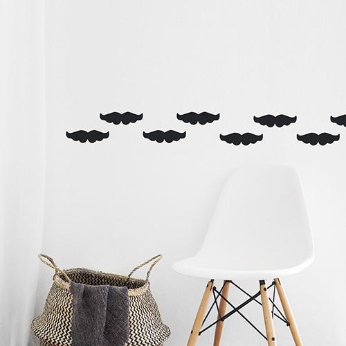 Stickers frise pour murs moustache noire