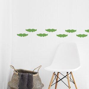 Stickers adhésifs Moustaches Vertes enfants mis en ambiance, 1ère proposition