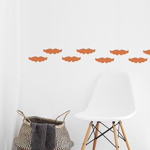 Stickers muraux moustache orange pour décoration d'intérieur !