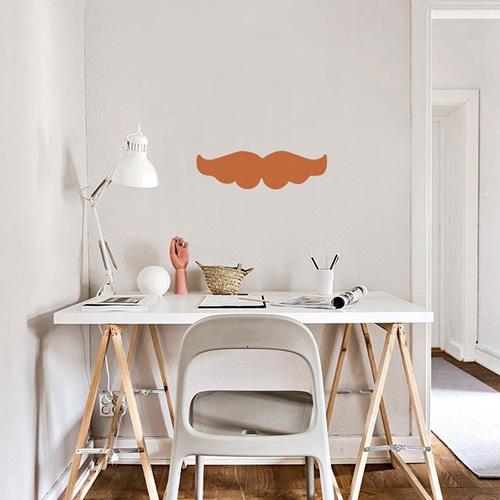 Stickers muraux moustache orange pour enfants