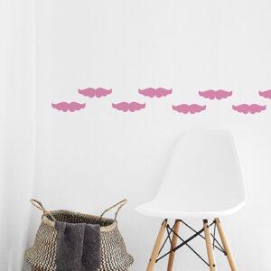 Stickers moustache rose frise pour murs de la maison