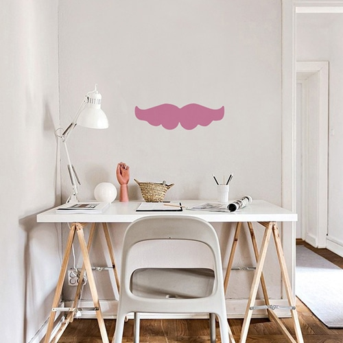 Sticker mural Moustache Rose pour salon