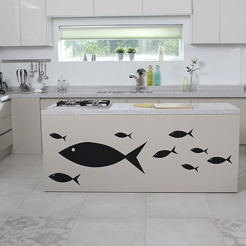 Stickers poissons noirs frise pour cuisine
