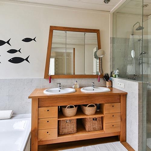 Stickers muraux frise pour salle de bain poissons noirs pour enfants !