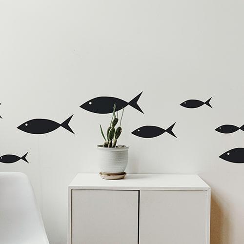 Stickers poissons noirs frise pour salon!