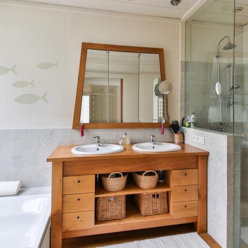 Sticker Poisson Beige frise pour salle de bain décoration d'intérieur