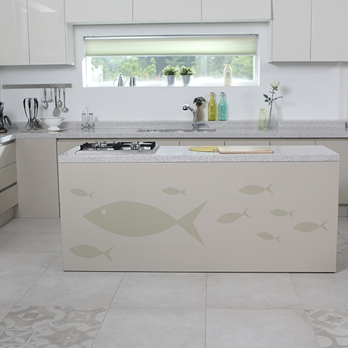 Stickers muraux poissons beige pour cuisine !