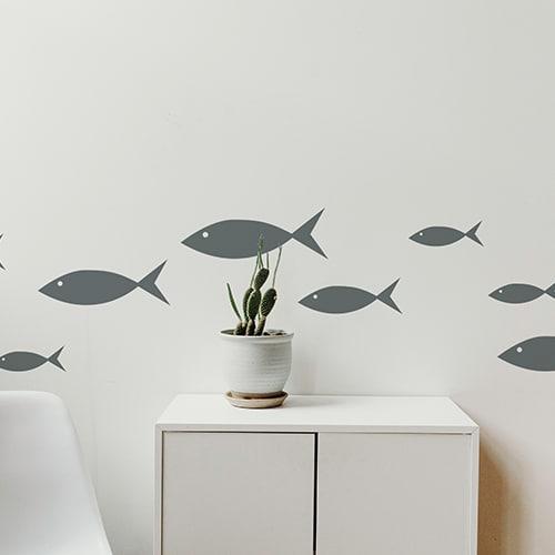 Stickers poissons gris foncé pour enfants frise pour salon