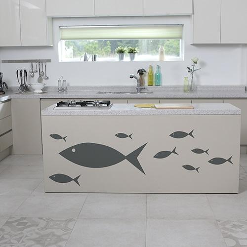 Stickers muraux pour cuisine poissons gris foncé