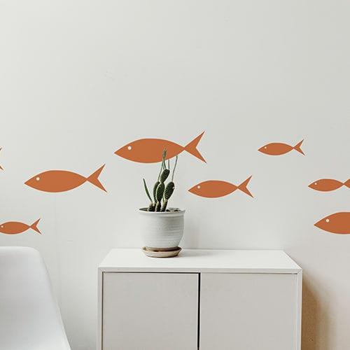 Stickers muraux poissons oranges frise dans salon