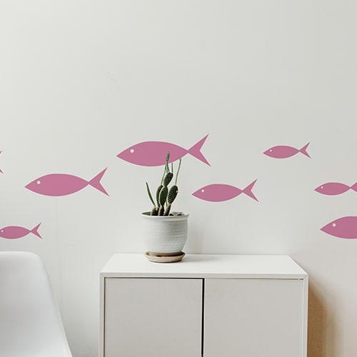 Stickers poissons roses frise pour salon