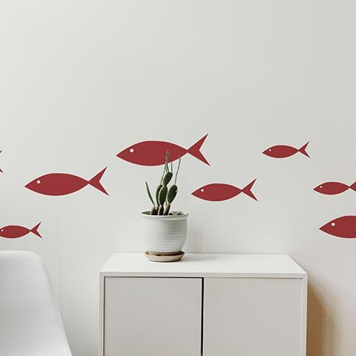 Stickers muraux frise pour enfants dans votre salon poissons rouges !