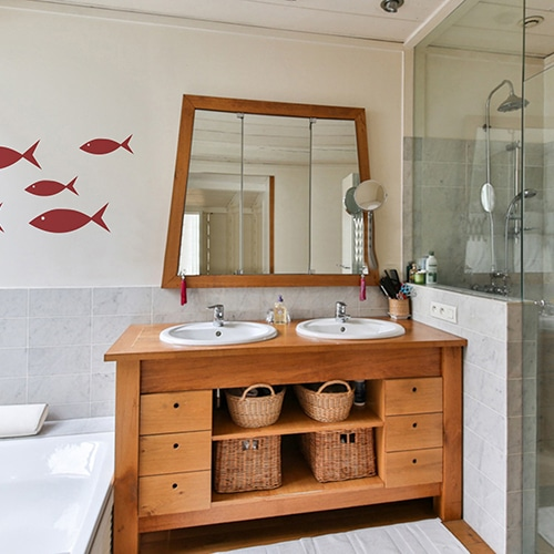 Sticker frise pour salle de bain Poissons rouges pour enfants !