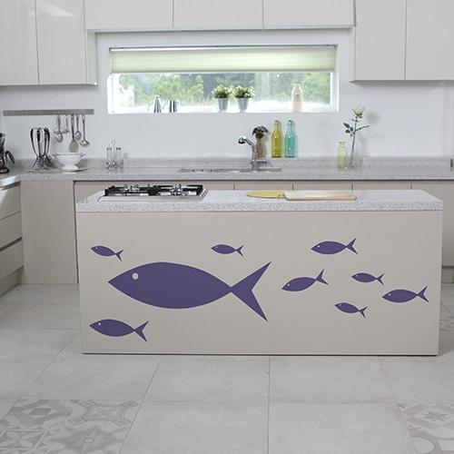 Sticker mural pour cuisine poissons violets pour enfants !