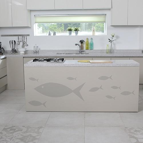 Stickers muraux frise pour enfants poissons gris pour votre cuisine !