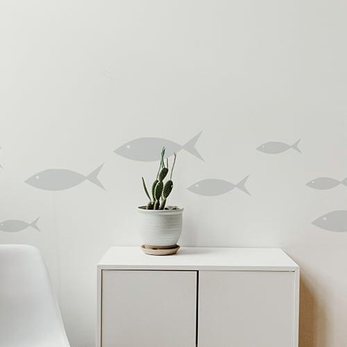 Stickers frise pour salon poissons gris !