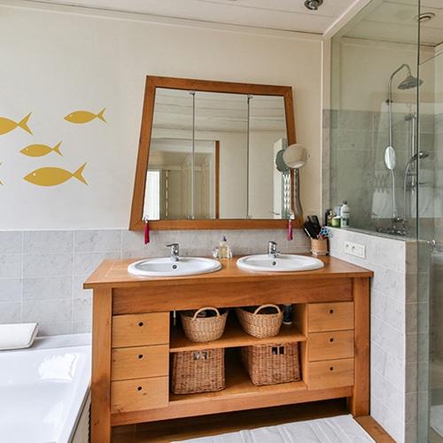 Stickers muraux pour salle de bain Poisson jaune