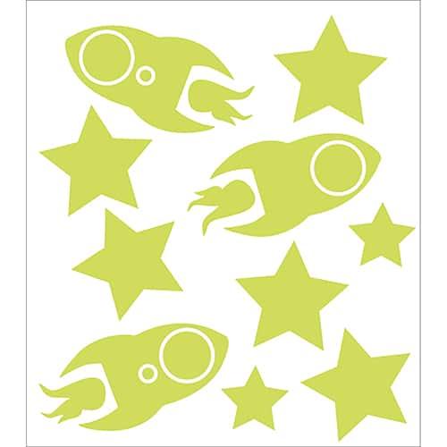 Lot de stickers Fusées et étoiles phosphorescentes