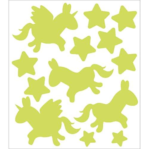 Planche de Stickers Licornes et étoiles phosphorescentes