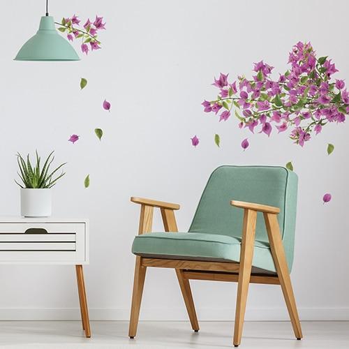 Sticker branches de bougainvillée rose pour salon