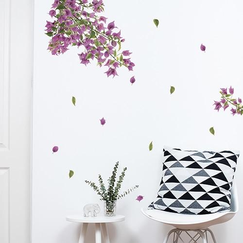 Sticker adhésif branches de bougainvillée rose pour salon