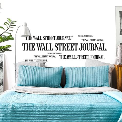 Adhésif Wall Street Journal pour tête de lit noir et blanc