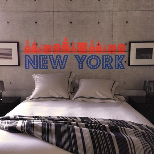 Autocollant New-York Rouge et Bleu pour tête de lit