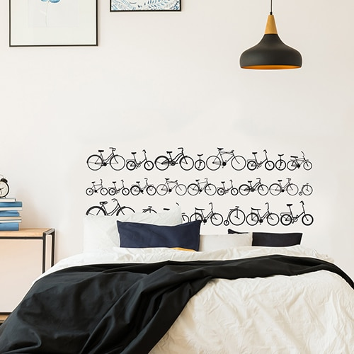 Autocollant Vélos pour tête de lit noir et blanc