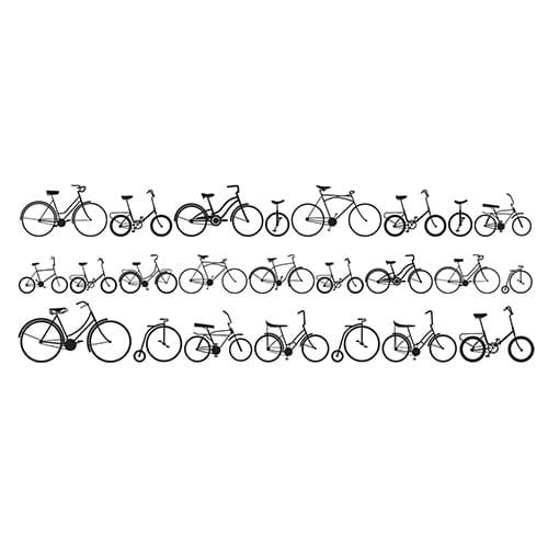 Sticker Vélos pour tête de lit sur mur blanc au-dessus d'un lit blanc et noir