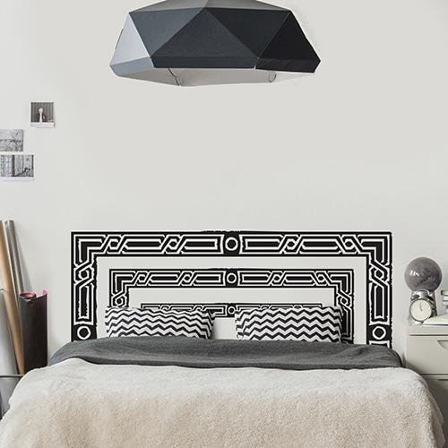 Autocollant Lignes Baroques pour tête de lit noir et blanc
