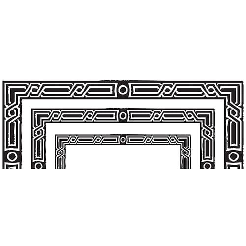 Sticker Lignes Baroques pour tête de lit sur mur blanc au-dessus d'un lit blanc et gris
