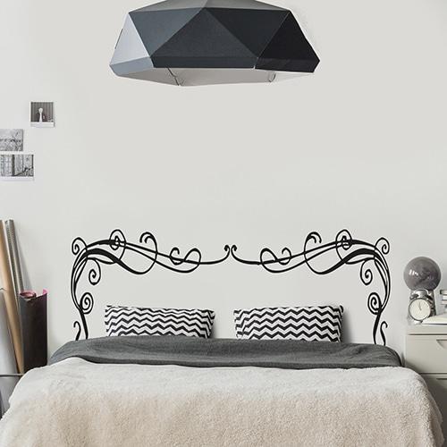 Autocollant Rubans Baroques pour tête de lit noir et blanc