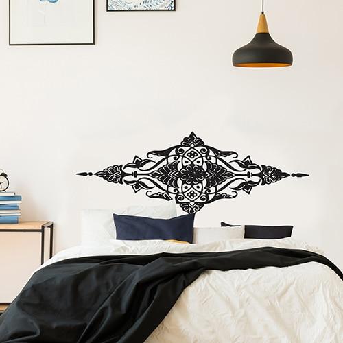 Autocollant Losange Baroque pour tête de lit noir et blanc