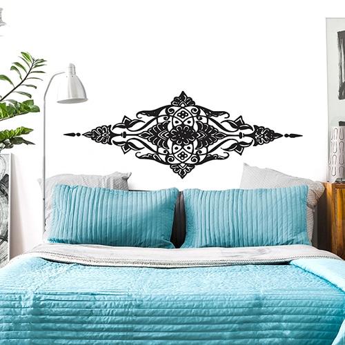 Sticker Losange Baroque pour tête de lit bleu