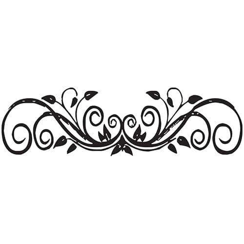 Sticker Feuilles Baroques pour tête de lit sur mur blanc au-dessus d'un lit blanc et noir