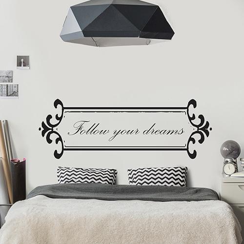 Autocollant Follow your dreams - Baroque pour tête de lit noir