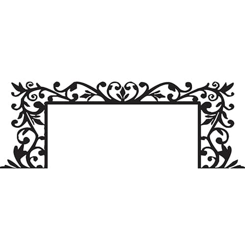 Sticker Branches Baroques pour tête de lit sur mur blanc au-dessus d'un lit blanc et gris
