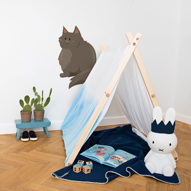 Chat pour enfant tente plaid et peluche bleu