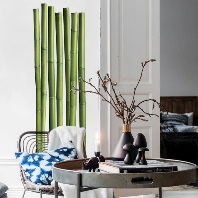 sticker bambou sur mur blanc