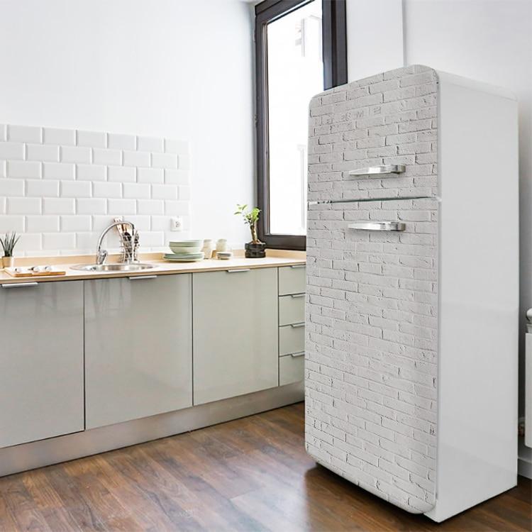 Sticker briques blanches pour frigo