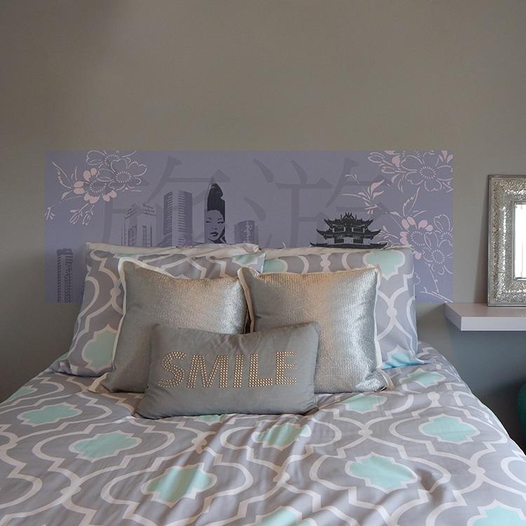 sticker tete de lit chine sur fond gris